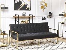 Sofa Bed Blue Velvet Tufted Upholstery 3 Seater