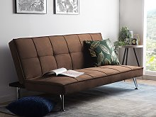 Sofa Bed Brown 3-Seater Quilted Upholstery Click