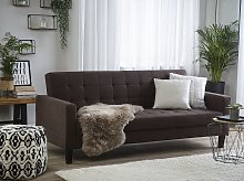 Sofa Bed Brown Fabric 3 Seater Click Clack Quilted