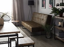 Sofa Bed Brown Faux Leather Modern Living Room