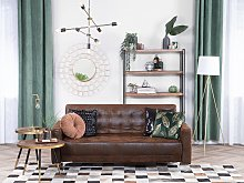 Sofa Bed Brown Faux Leather Tufted Modern Living