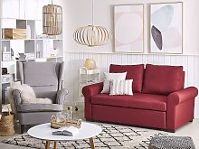 Sofa Bed Burgundy Red Polyester Fabric 2 Seater