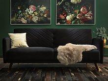 Sofa Bed Dark Black Velvet Fabric Modern Living