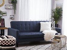 Sofa Bed Dark Blue Fabric 3 Seater Click Clack
