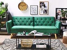 Sofa Bed Dark Green Velvet Upholstered Convertible