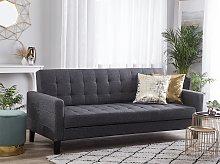 Sofa Bed Dark Grey Fabric 3 Seater Click Clack