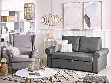 Sofa Bed Dark Grey Polyester Fabric 2 Seater
