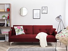 Sofa Bed Dark Red 3 Seater Buttoned Seat Click