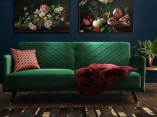 Sofa Bed Emerald Green Velvet Fabric Modern Living