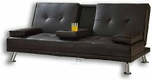 Sofa Bed Faux Leather Cupholder 3 Seater Black or