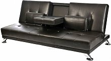 Sofa Bed Faux Leather Cupholder 3 Seater Chrome