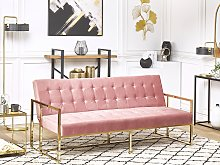 Sofa Bed Gold Metal Frame Tufted Pink Velvet