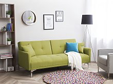 Sofa Bed Green 3 Seater Buttoned Seat Click Clack