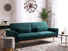 Sofa Bed Green Velvet 3 Seater Metal Legs