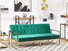 Sofa Bed Green Velvet Tufted Upholstery 3 Seater