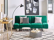 Sofa Bed Green Velvet Upholstery 3 Seater Click