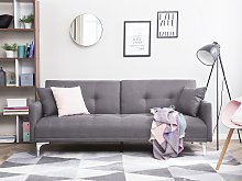Sofa Bed Grey 3 Seater Buttoned Seat Click Clack