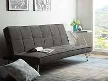 Sofa Bed Grey 3-Seater Quilted Upholstery Click