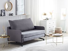 Sofa Bed Grey Fabric 2 Seater Modern Living Room