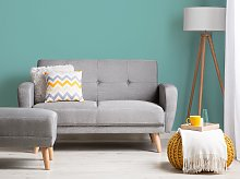 Sofa Bed Grey Fabric Upholstered 2 Seater