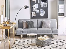 Sofa Bed Grey Fabric Upholstery 3 Seater Click