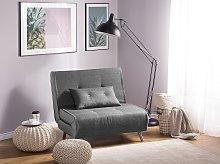 Sofa Bed Grey Fabric Upholstery Single Sleeper