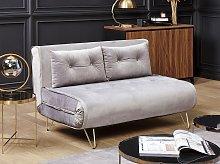 Sofa Bed Grey Velvet 2 Seater Fold-Out Sleeper
