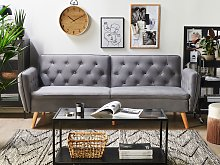 Sofa Bed Grey Velvet Upholstered Convertible Couch