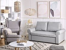 Sofa Bed Light Grey Polyester Fabric 2 Seater
