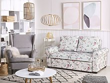Sofa Bed Light Grey Polyester Fabric Floral