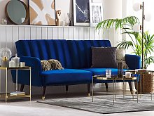 Sofa Bed Navy Blue Sleeper Convertible Velvet