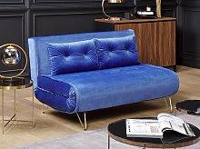 Sofa Bed Navy Blue Velvet 2 Seater Fold-Out
