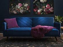 Sofa Bed Navy Blue Velvet Fabric Modern Living