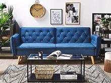 Sofa Bed Navy Blue Velvet Upholstered Convertible