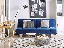 Sofa Bed Navy Blue Velvet Upholstery 3 Seater