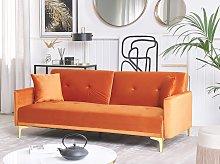 Sofa Bed Orange Velvet 3 Seater Buttoned Seat