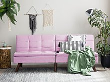 Sofa Bed Pink 3-Seater Quilted Upholstery Click