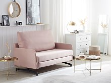 Sofa Bed Pink Fabric 2 Seater Modern Living Room
