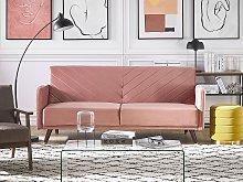 Sofa Bed Pink Velvet Fabric Retro Living Room 3