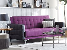 Sofa Bed Purple with Black Tufted Fabric Modern