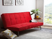 Sofa Bed Red 3-Seater Quilted Upholstery Click