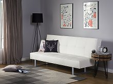 Sofa Bed White Faux Leather Modern Living Room