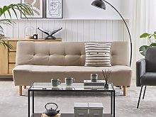 Sofa Beige Fabric Upholstery Light Wood Legs 3