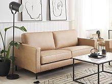 Sofa Beige Faux Leather 3 Seater Metal Legs