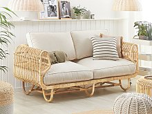 Sofa Beige Natural Rattan 2-Seater with Cotton