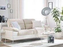 Sofa Beige Upholstered Fabric Faux Leather 3
