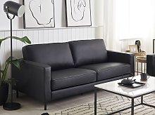 Sofa Black Leather 3 Seater Metal Legs Upholstered