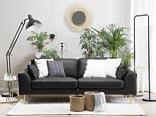 Sofa Black Leather 3 Seater Wood Frame Additional