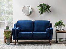 Sofa Blue 2 Seater Velvet Wooden Legs Classic