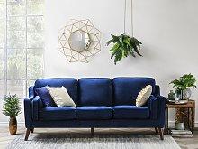 Sofa Blue 3 Seater Velvet Wooden Legs Classic